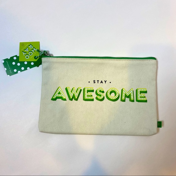 Stay Awesome canvas cosmetic pouch NWT